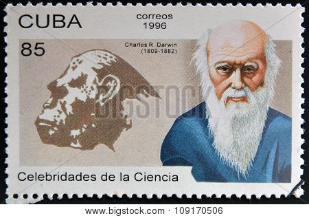 CUBA - CIRCA 1996: a stamp printed in Cuba shows an image of Charles Darwin circa 1996.
