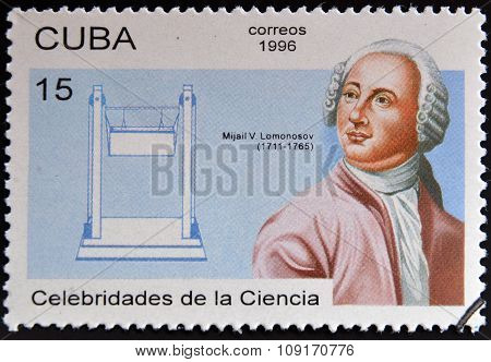a stamp printed in Cuba shows Mikhail Vasilyevich Lomonosov discoverer of the Venus atmosphere