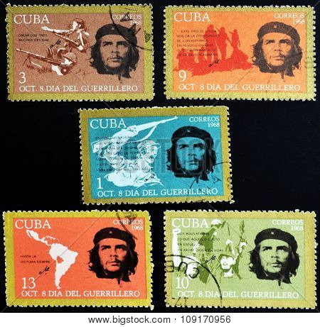 CUBA - CIRCA 1968 : stamps printed in Cuba shows Ernesto Che Guevara- legendary guerrilla circa 1968