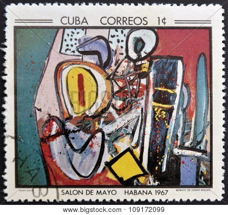 Stamp printed in Cuba commemorative to May Salon 1967 shows Portrait of Sonny Rollins by Alan Davie