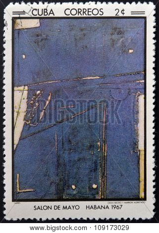 Stamp printed in Cuba commemorative to May Salon 1967 shows Great black and brown cracked by Tapies
