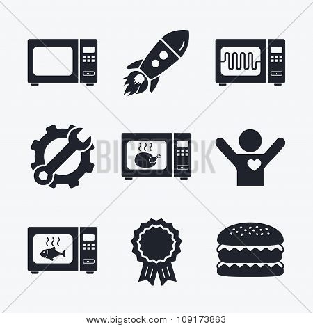 Award achievement, spanner and cog, startup rocket and burger. Microwave oven icons. Cook in electric stove symbols. Grill chicken and fish signs. Flat icons. poster