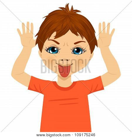 little boy making mocking expression with hands
