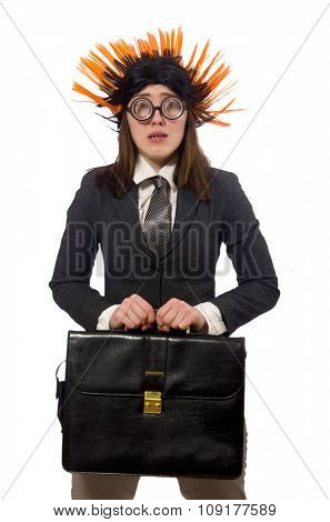 Funny businesswoman in business concept on white