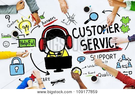 Customer Service Support Assistance Service Help Guide Concept poster