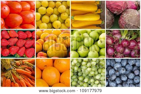 Rainbow Fruits And Vegetables Collage