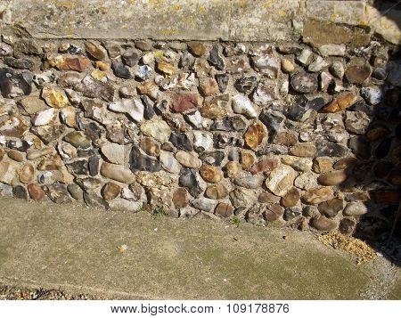 Flint in church wall