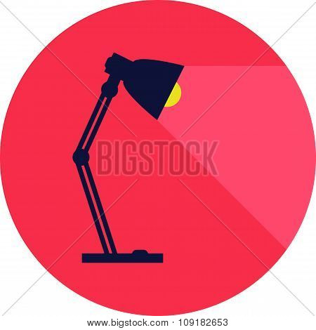 Table-lamp, Desk Lamp,  Reading-lamp With Light,  Flat Style Vector Illustration