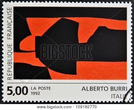 FRANCE - CIRCA 1992: A stamp printed in France shows a work by Alberto Burri circa 1992