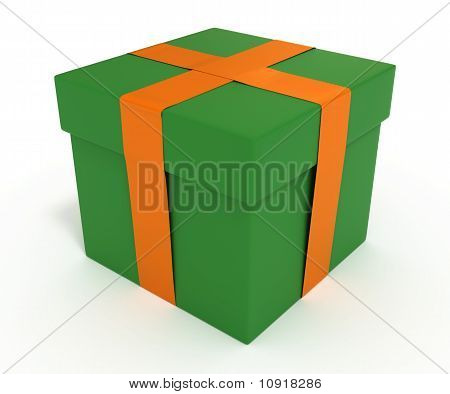 Green Gift Box with Orange Ribbon, Isolated on White