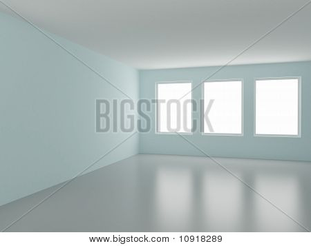Empty Room, with Three Windows