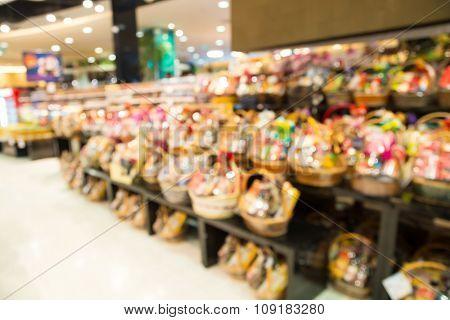 Blur Of Defocus Background Of Newyear Gift Basket