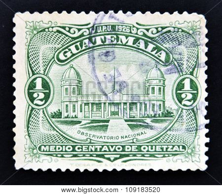 GUATEMALA - CIRCA 1929: Postage stamps printed in Guatemala shows a National Observatory circa 1929