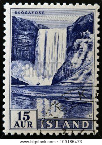 ICELAND - CIRCA 1956: A stamp printed in Iceland shows Skogafoss circa 1956