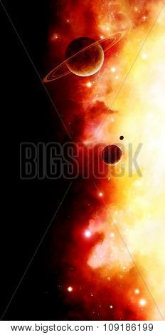 Illustration of a red nebula with planets and stars in deep space on a black background.