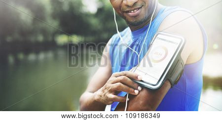Exercise Athlete Playlist Gadget Smartphone Sporty Concept poster