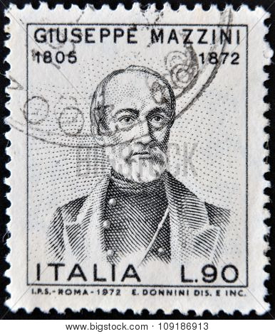 ITALY - CIRCA 1972: a stamp printed in Italy shows Giuseppe Mazzini
