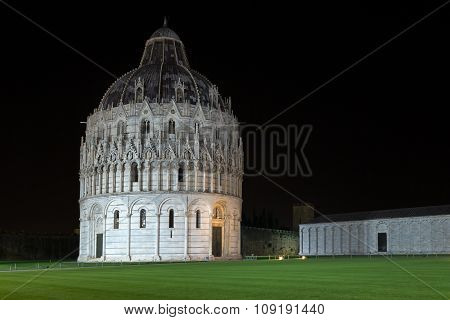 Floodlit Pisa Baptistry Of St John At Night