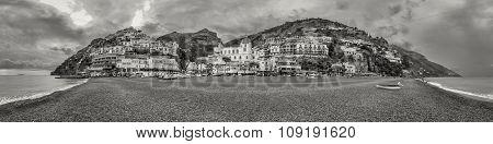 B&w Panoramic View Of Positano On Amalfi Coast In Italy