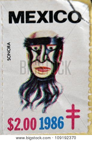 MEXICO - CIRCA 1986: A stamp printed in Mexico shows Mexican mask Sonora circa 1986