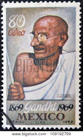 MEXICO - CIRCA 1969: A stamp printed in Mexico shows Mahatma Gandhi circa 1969