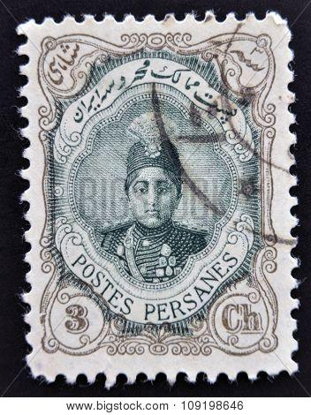 IRAN - CIRCA 1910: A stamp printed in Iran shows Ahmad Shah Small circa 1910