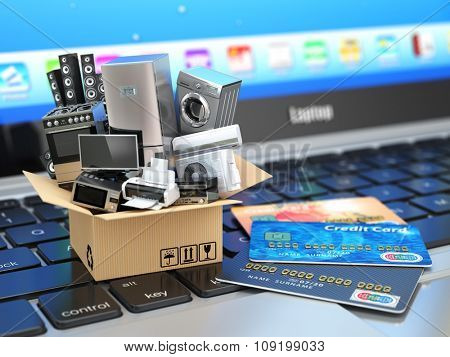E-commerce or online shopping or delivery concept. Home appliance in box with credit cards on the laptop keyboard. 3d