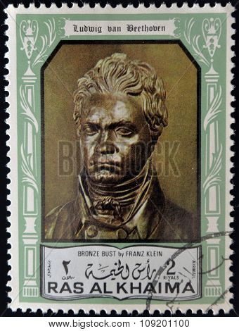 stamp printed in the Ras al-Khaimah shows Ludwig van Beethoven Bronze bust by Franz Klein