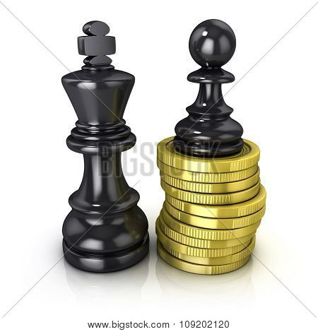 Black pawn standing on coins and black king