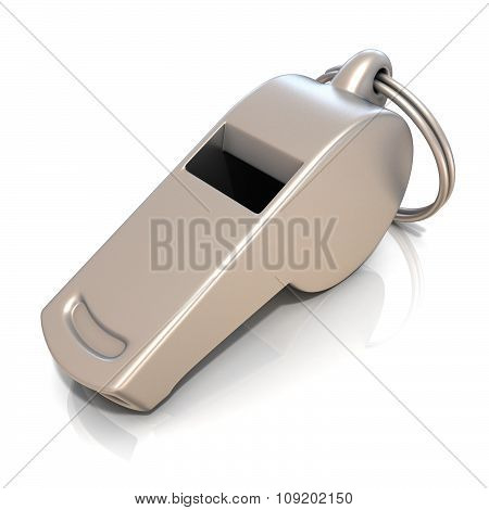 Metal whistle isolated. Side view