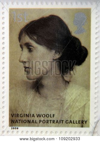 A stamp printed in Great Britain dedicated to the national portrait gallery shows Virginia Woolf by