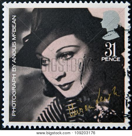 UNITED KINGDOM - CIRCA 1985: stamp printed in UK shows Vivien Leigh by photographer Angus McBean