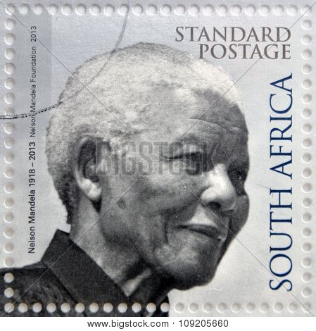 REPUBLIC OF SOUTH AFRICA - CIRCA 2014: A stamp printed in RSA shows Nelson Mandela circa 2014