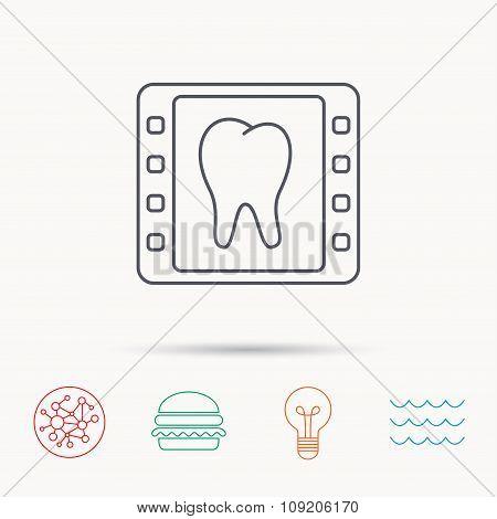 Dental x-ray icon. Orthodontic roentgen sign.