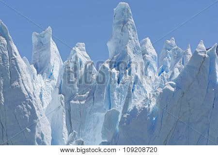 Ice Sculptures On A Glacier Wall
