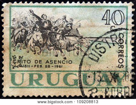 URUGUAY - CIRCA 1961: stamp printed in Uruguay shows Grito de Asencio circa 1961