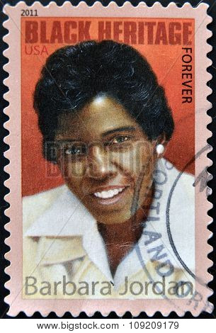 UNITED STATES OF AMERICA - CIRCA 2011: A stamp printed in USA shows Barbara Jordan black heritage