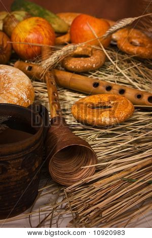 Harvest. Still Life picture with russian pipes poster