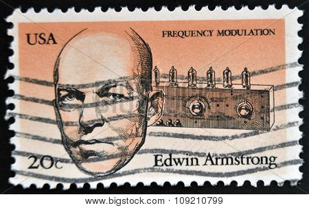 stamp printed in USA shows Edwin Howard Armstrong (1890-1954) was an American electrical engineer