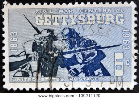 Stamp printed in USA shows the Blue and Gray at Gettysburg 1863 Civil War Centennial Issue