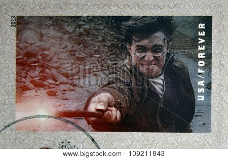 UNITED STATES OF AMERICA - CIRCA 2013: A stamp printed in USA dedicated to Harry Potter