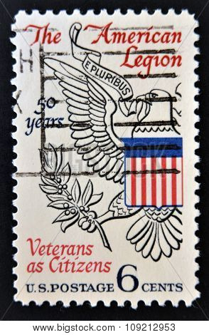 A Stamp printed in USA shows the Eagle from Great Seal of U.S. devoted to American Legion circa 1969