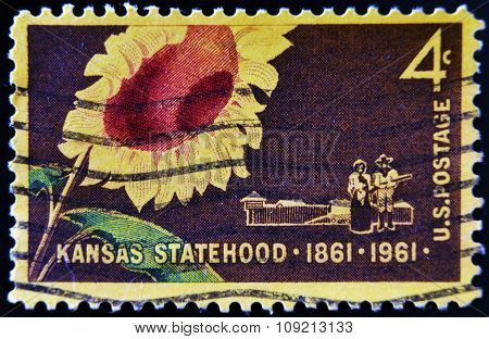 A stamp printed in USA dedicated to Kansas statehood circa 1960