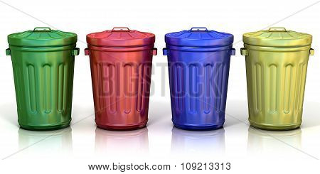 Four recycle bins for recycling paper metal glass and plastic. Isolated on white background. poster