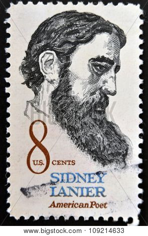 a stamp printed in USA shows Sidney Lanier American poet circa 1972