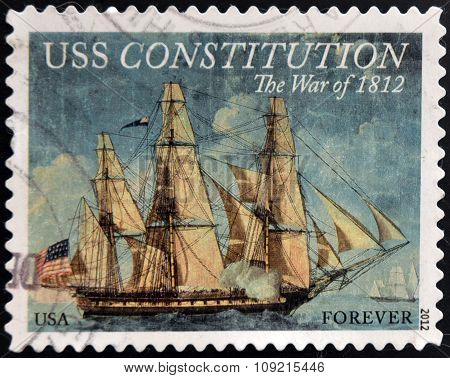 A stamp printed in USA dedicated to USS Constitution the war of 1812 circa 2012