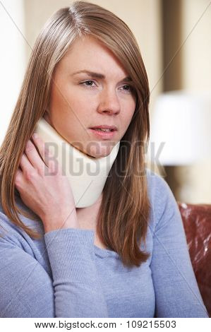 Woman Wearing Neck Brace