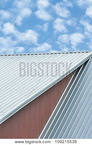 Industrial Building Roof Sheets, Grey Steel Rooftop Pattern, Bright Summer Clouds Cloudscape, Blue