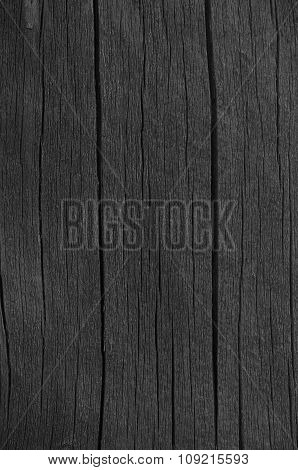 Wooden Plank Board Black Wood Tar Paint Texture Detail, Large Old Aged Dark Detailed Cracked Timber