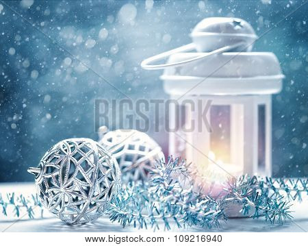 Abstract Christmas backgrounds with lantern and beauty holiday decorations